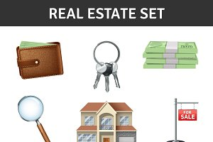 Real estate realistic icons set