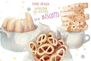 watercolor biscotti set, hand drawn