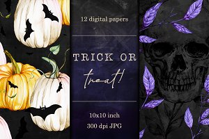 Halloween digital papers - 12 sheets