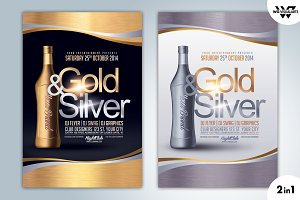 2in1 GOLD & SILVER Flyer Template