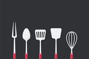 Cooking utensils set illustration