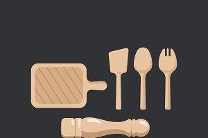 Wooden kitchenware set vector