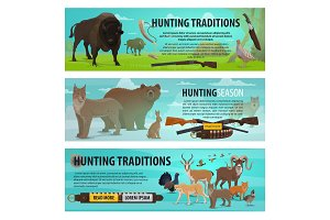 Hunting animals, birds and rifles