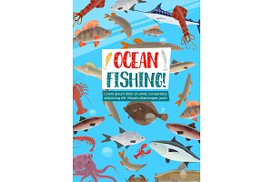 Fishing sport poster with ocean fish