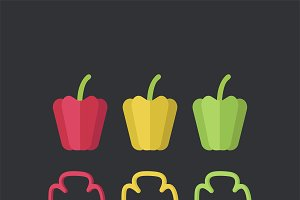 Colorful bell peppers food vector