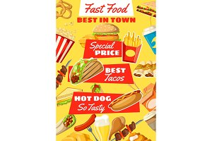 Vector fast food restaurant menu