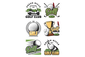 Golf game and sport club icons
