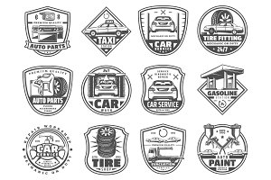 Car service and garage vector icons