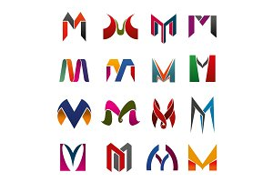 Leter M icons and symbols