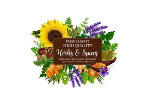 Natural herbs and spices poster
