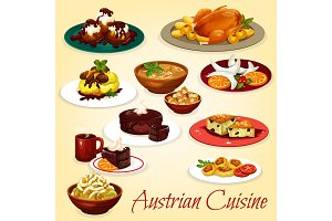 Austrian cuisine dishes and desserts