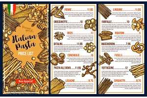 Italian cuisine pasta menu template