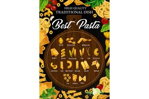 Best Italian pasta on cutting board