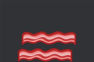Two bacon slices vector on black
