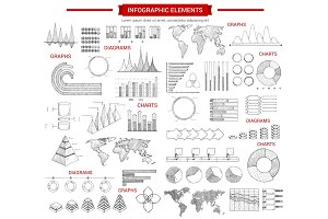 Infographic chart and graphs sketch