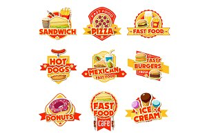 Fast food labels of burgers, drinks