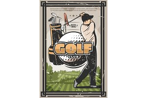 Golf sport poster with golfer