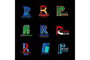Letter R identity business icons
