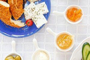 Top view of Turkish breakfast