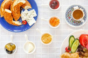 Turkish breakfast with coffee