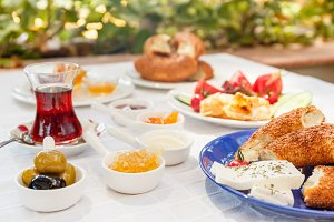 Turkish breakfast outside