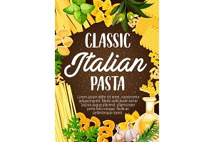 Pasta frame with italian spaghetti