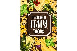 Italian pasta, tomato and herbs