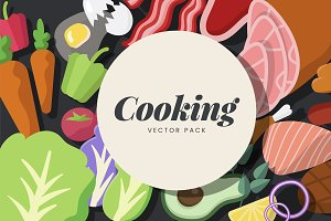 Cooking ingredients vector set