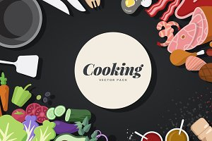 Cooking ingredients and tools vector