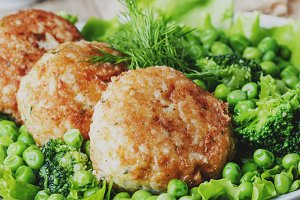 Fish cutlets or meatballs from cod a