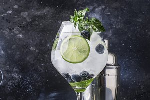 Summer alcoholic cocktail blueberry