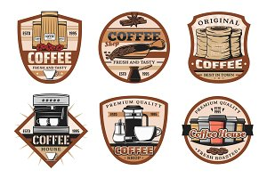 Coffee icons, espresso cup and bean