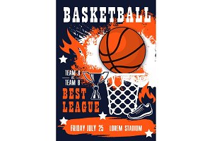 Basketball sport match invitation