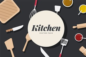 Kitchen utensils & ingredient vector