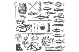 Fishing equipment, tackle, fish