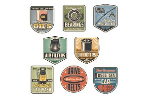 Car repair service vector icons