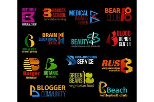 Letter B business identity icons