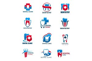 Dental clinic, tooth, dentist icons