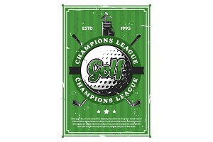 Golf game ball, clubs retro poster
