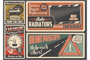 Car service auto repair retro sign