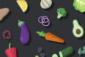 Fresh organic vegetables vector pack