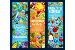 Healthy food vitamins and fruits