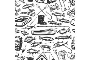 Fishing gear and seafood pattern