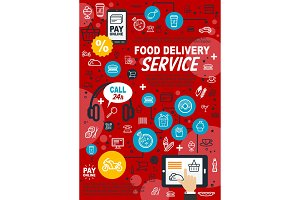 Food delivery service vector poster