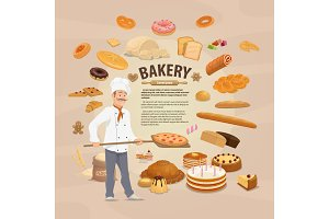 Bakery shop, baked pastry and baker