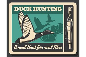 Hunting poster with duck and shotgun