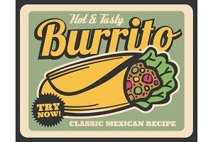 Burrito Mexican cuisine dish, vector