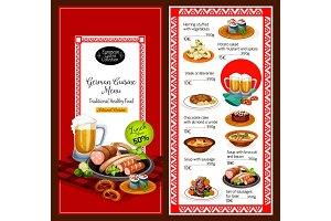 German cuisine menu lunch dishes