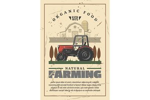 Farming and agriculture retro vector