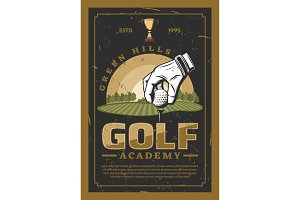 Golf professional sport retro poster